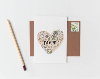 Mother's Day Greeting Card FLORAL HEART
