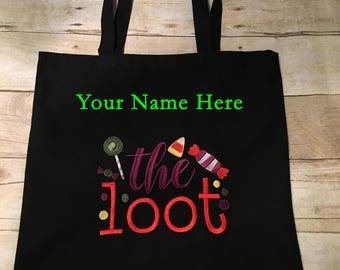 Trick or treat bag, Halloween bag, Personalized bag, Embroidered Halloween bag, candy tote, Trick-or-treat, Halloween accessory, fabric tote