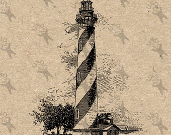 Vintage Lighthouse light tower storm image Instant Download printable Antique drawing clipart digital graphic Transfer burlap paper HQ300dpi