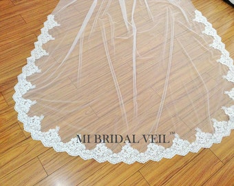 Lace Wedding Veil, Cathedral Veil Lace, Chapel Lace Veil, 1 Tier Veil, Mi Bridal Veil