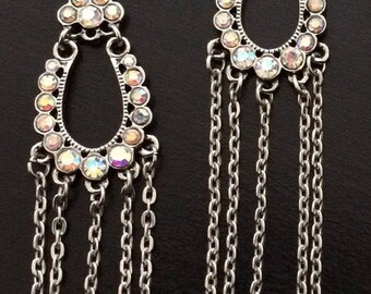 Pink from the Chandeliers: Rose and silver dangle chandelier earrings