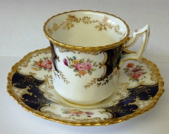 Antique COALPORT BATWING Cabinet Cup And Saucer circa 1900 Hand Gilded And Painted A True Treasure, A perfect Gift