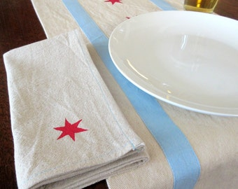 Chicago flag inspired napkins (PAIR) -- for Daaa Dinner Table