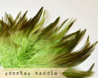 50 pcs+ - OLIVE - Rooster Saddle feathers - 2 inch strip - two-tone, pointy tip, shiny feathers, exotic feathers (RS009)
