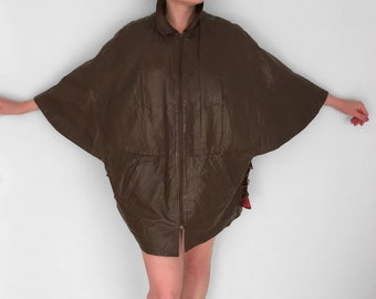 Mocha LEATHER Cape 80s A+F Originals Zip Laced Sides Brown Poncho