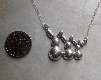 """Bunny rabbit family Sterling silver 18"""" pendant necklace father mother baby"""
