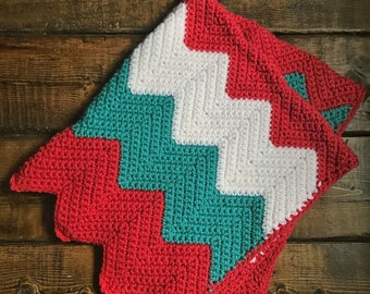 Colorful & Cozy Chevron Baby Cradle Crochet Blanket - Coral, Teal, White - Ready to ship!