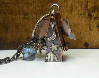 The Original Miniature Handmade Copper Fairy House 'to the moon'