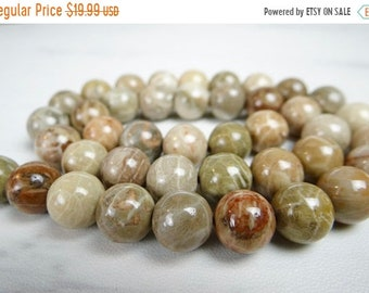 54% Off Sale NEW MATERIAL---AAA Petoskey Stone fossil smooth round beads/9mm/7.5 inches long