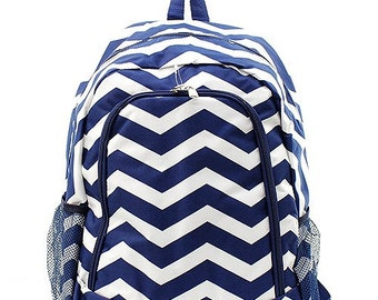 Monogrammed Navy Chevron Backpack- Personalized Gift-Monogram Backpack-Personalized Backpack-Monogrammed Backpack-Embroidered Backpack