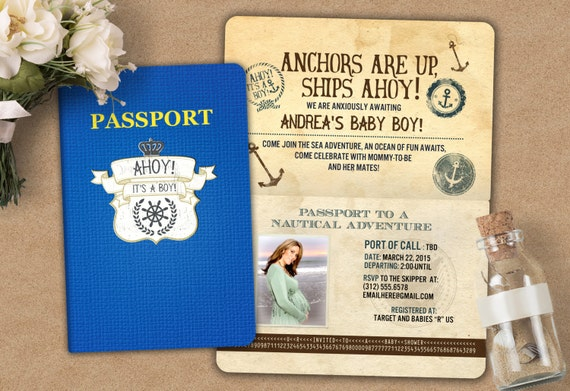 Nautical passport and ticket baby shower invitation baby boy nautical passport and ticket baby shower invitation baby boy shower invitation travel baby shower invitation digital files only filmwisefo Image collections