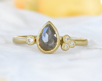 Rose Cut Diamond Engagement Ring in Ethical 18k Gold, Pear Shape Natural Diamond Ring, Salt and Pepper Diamond