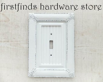 Light Switch Plate Cover Shabby Chic White Electrical Framed Painted Cottage Wood Metal Single Toggle Screws Included DESCRIPTION BELOW