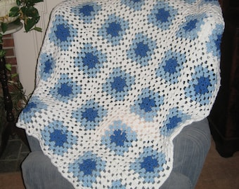 "Beautiful Blue and White Crocheted Baby Blanket/Afghan - 48""x48""  Handmade/Washable Granny Square Pattern in 2 Shades Blue and White"