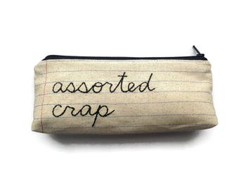 Assorted Crap Zipper Pouch Pencil Case - Funny Notebook Paper Fabric Novelty Back to School Gift - Wallet or Change Purse - Makeup Bag