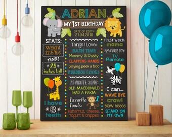 Zoo Chalkboard Poster   Jungle Milestone Birthday Chalkboard Sign   Safari Birthday Poster   Stat Poster   1st Birthday Chalkboard Poster