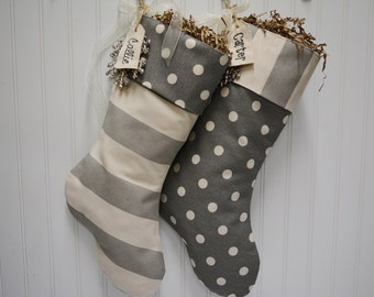 Gray and white stocking set of 2