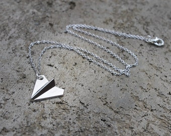 Silver Paper AirPlane Necklace // Airplane Necklace // Origami Necklace