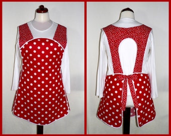 Red and White Polka Dot 50s Smock Apron, vintage style h-back apron, comfortable all day, made-to-order XS to Plus Size, choose your pockets