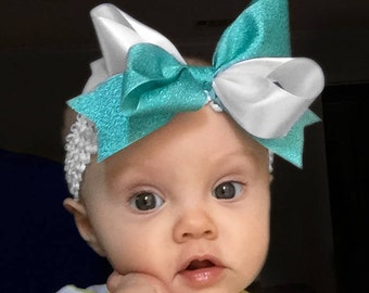 Bow Crown, White & Sparkle Teal (Hair Bow Attached by Band, Newborn-3 Yrs)