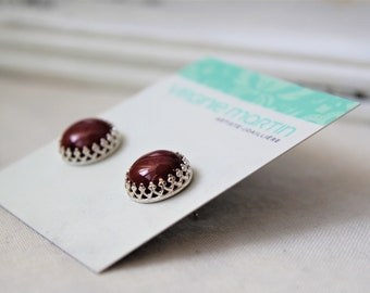 Sterling silver and Mookaite Studs Earrings - Handmade jewelry 12 MM