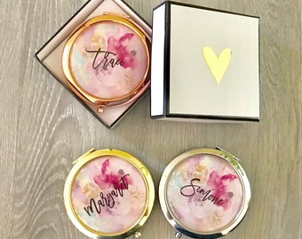 Personalized Mirror Compact - Bridal Compacts - Bridesmaid Gift - Floral Design Compacts - Compact Mirror Customized - Bridal Shower Favors