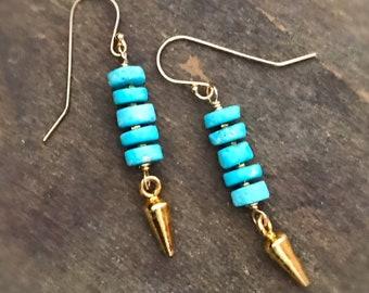 Turquoise Earrings - Sleeping Beauty Gemstone Jewellery - Spike Jewelry - Gold - Southwestern