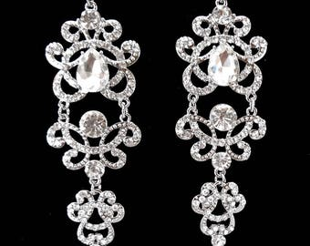 "Long chandelier crystal earrings Crystal statement earrings 4"" Wedding earrings Brides statement earrings Wedding Bridal Jewelry ANGELINA"