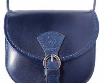 An iconic leather Italian made petite handbag in gorgeous deep blue.