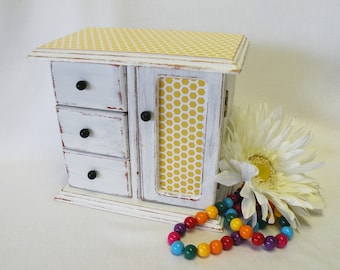 Baby's First Jewelry Box - Upcycled Vintage - Bumble Bee Inspired - Yellow and Black - Shabby Chic, Cottage, Country Chic, Gift for Girls