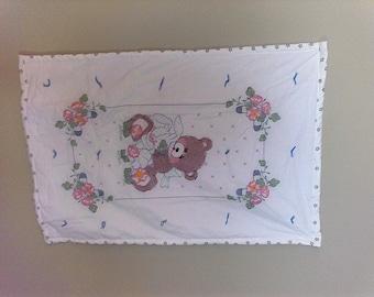 Bear, Bunny, Ballerina hand embroidererd baby quilt