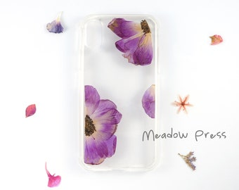 iPhone X bumper case with real pressed flowers