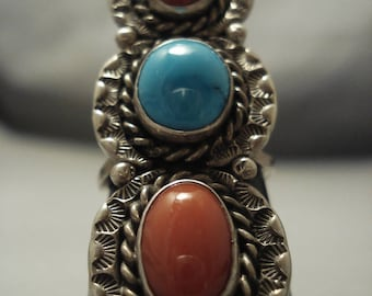 Superior Vintage Navajo Domed Coral Turquoise Sterling Silver Ring Old Pawn