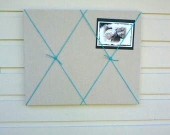 Linen Pinboard, Nautical styled Oatmeal Linen Bulletin Board with jute twine accent for your Photos and notes, pin or tack board