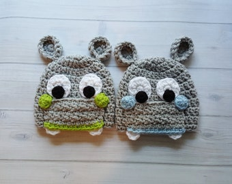 Twin Boys Crocheted Baby Hippo Hat, Crocheted Baby Twin Animal Hats, Infant Animal Hats, Crocheted Baby Boy Photo Prop Twin Hat, Twin Gifts