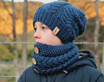 """Knitting Patterns, Knitted Beanie and Cowl Pattern, """"Marlon Beanie & Cowl"""" PDF  PATTERN ONLY"""