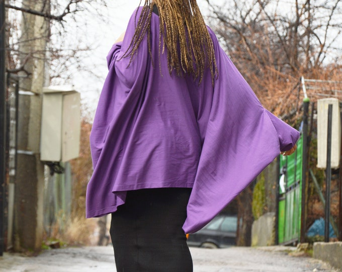 Oversize Cotton Purple Loose Tunic, Asymmetric Casual Tunic Top, Short Sleeve Maxi Tunic, Handmade Extravagant Summer Top by SSDfashion