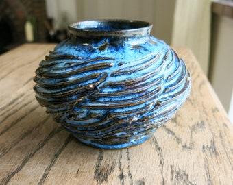 OOAK  wheel thrown, hand carved, ceramic vase, bowl, dish decorative piece