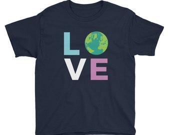 Youth Earth Day Love the Earth Boys Girls Short Sleeve T-Shirt