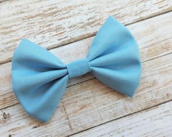 Deep Sky Blue Fabric Hair Bow Clip or Headband / Blue Hair Bow / Sky Blue Bow Headband / Blue Bow Clip / Sky Blue Bow / Solid Blue Hair Bow