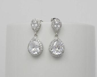 Teardrop Earrings, Cubic Zirconia Crystals, Bridal Drop Earrings, Bridesmaid Gifts, Sophia Earrings - Ships in 1-3 Business Days