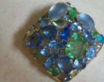 Vintage square rhinestone brooch, green blue, Juliana style, large brooch, statement brooch, multi color, gold tone