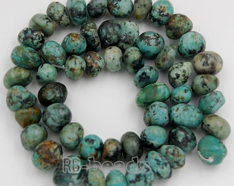 "Natural Oval African Turquoise Beads, Potato Gemstones beads, Spacer Loose Stone Nugget Beads jewelry supplies For Jewelry Make 7.5""  8-11mm"