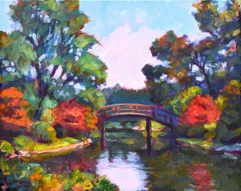 Japanese Bridge at Missouri Botanical Gardens, St Louis, 16 x 20, original painting, acrylic on canvas, landscape, autumn, lake, Kit Miracle