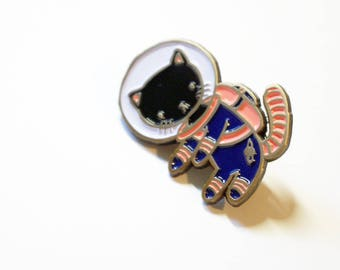 Black and Navy Blue Space Kitty enamel pin - for all cat loving adventurers
