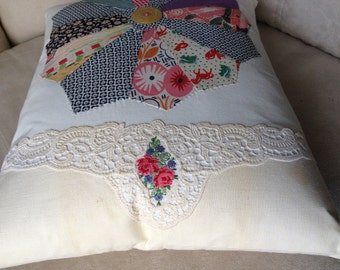 DRESDIN PLATE QUILTED Pillow, Cottage Style Quilt n Embroidered Hand Towel Pillow,Stuffed Linens,1930s Flour Sack Fabric,Upcycled Linens,