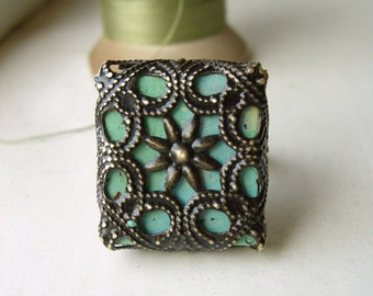 Bohemian Filigree Ring Hand Crafted Turquoise Flower Adjustable  - The Paramount