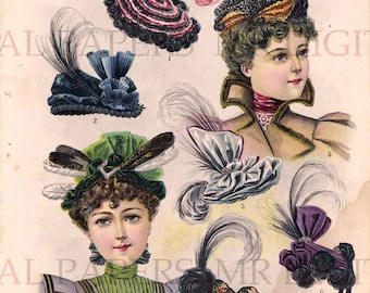 Antique Advertising / Millinery Page / Digital Instant Download / Paper Ephemera / Ladies Hat / Victorian Hat / Millinery Hat / Trade Card