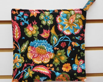 """602 Jacobean Print Hot Pad, Jacobean Fabric, Floral Pot Holder, Fabric Trivet, Quilted Heat Resistant Backing, 7-3/4"""" by 7-3/4"""" Square"""