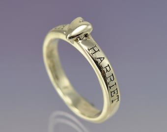 Stacking Silver Heart Ring Personalised